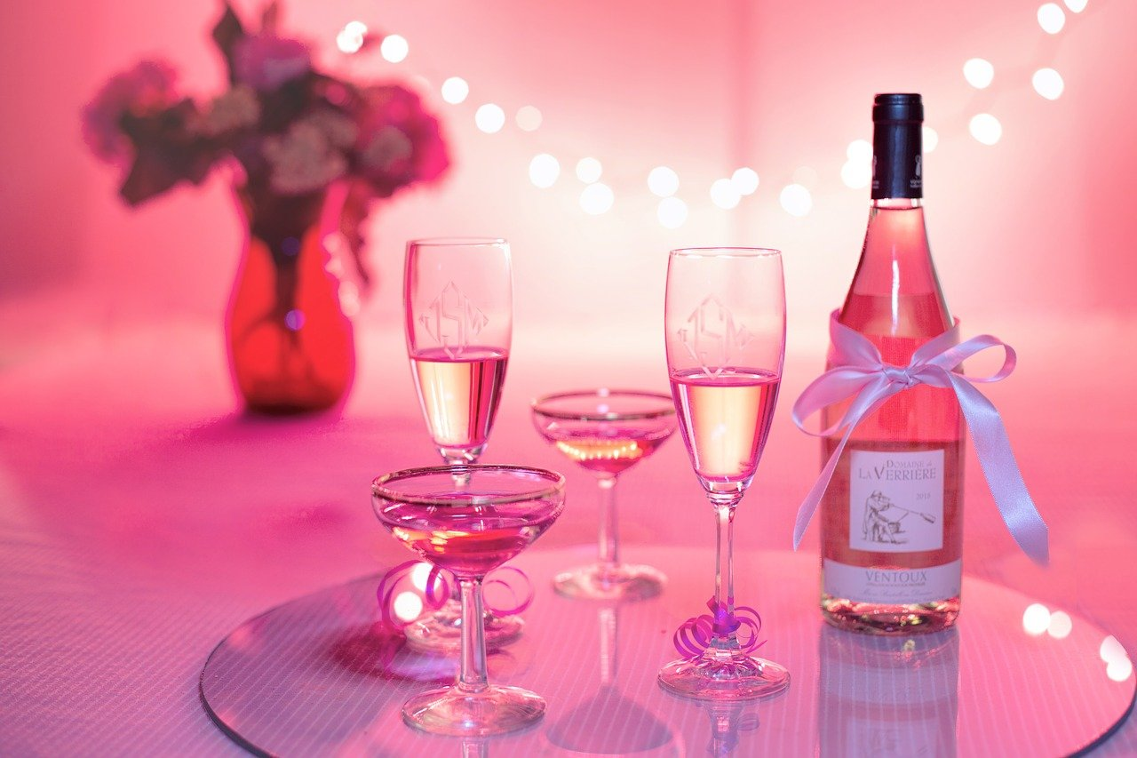 pink wine, champagne, celebration
