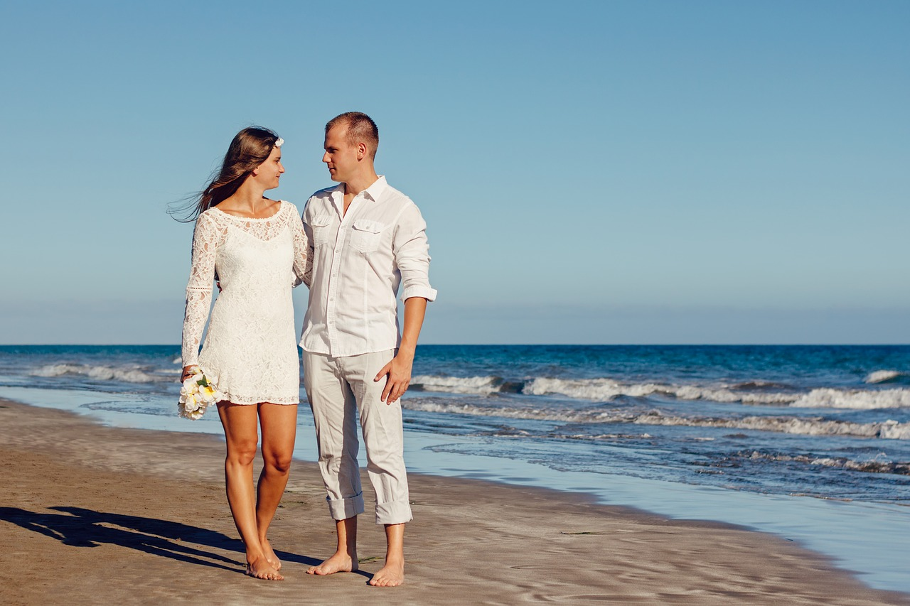wedding, beach, love